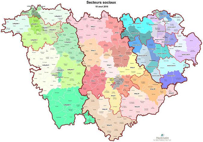 Departement Haute Loire Carte.La Carte Et Les Coordonnees Des Secteurs Sociaux